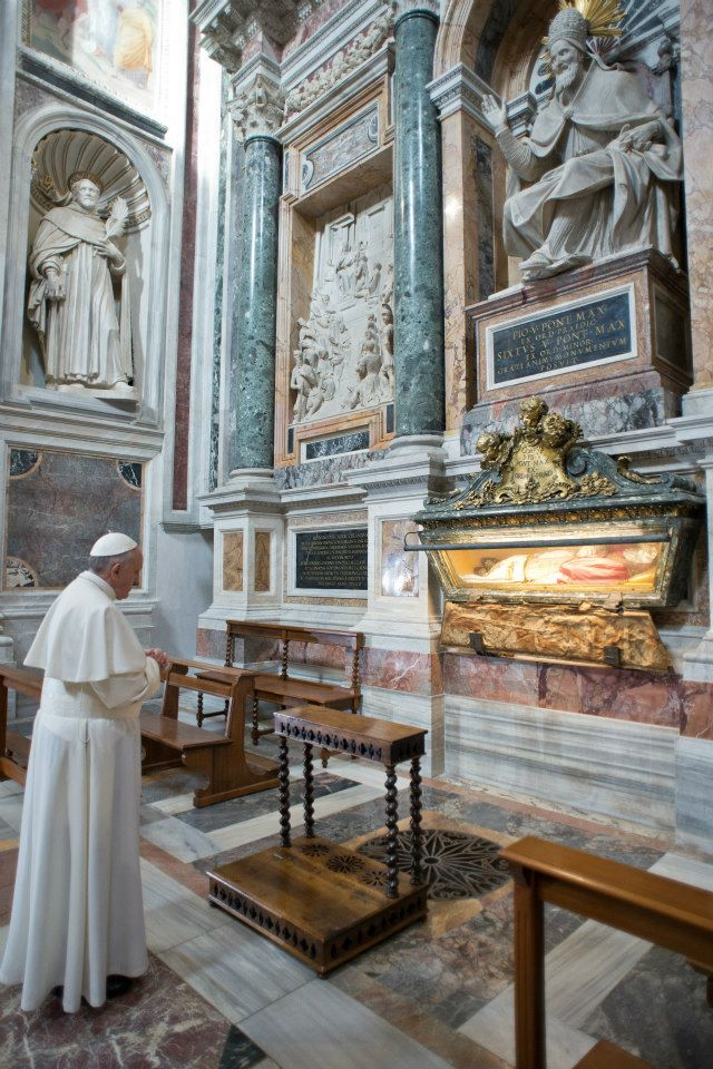 Pope Francis at the Tomb of Pope Saint Pius V