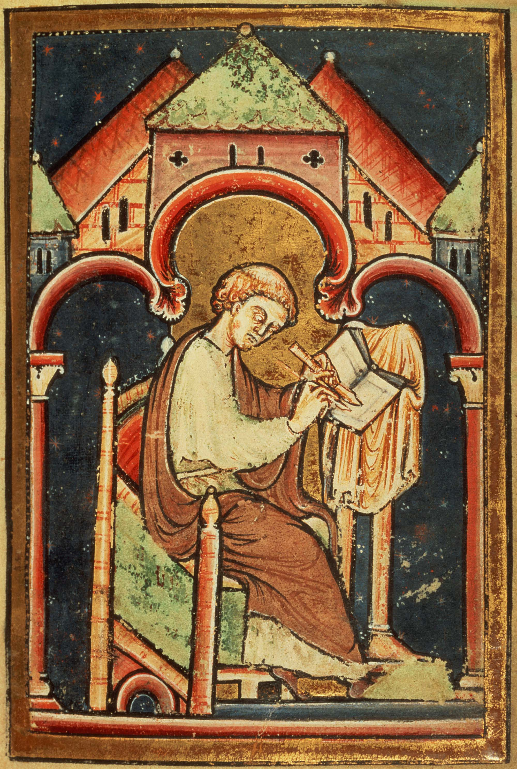 Saint Bede the Venerable (c. 673 – 735): Benedictine monk, priest, historian, Doctor of the Church. dans immagini sacre Saint-Bede-the-Venerable