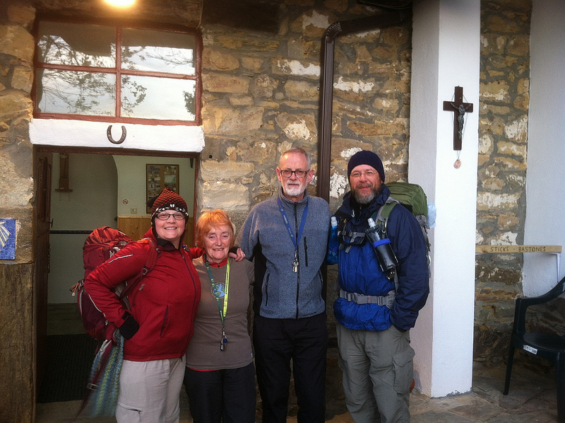With the hospitaleros of Refugio Gaucelmo at Rabanal del Camino
