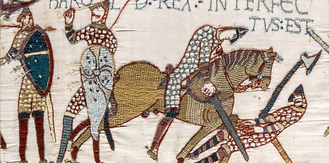 """The Bayeux Tapestry: King Harold's death. Legend above: Harold rex interfectus est, """"King Harold is killed"""""""