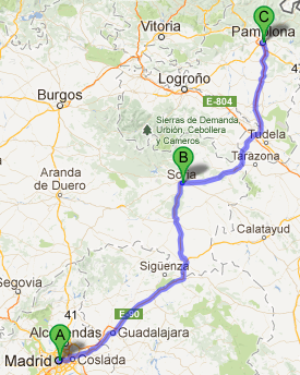 Bus route Madrid to Pamplona
