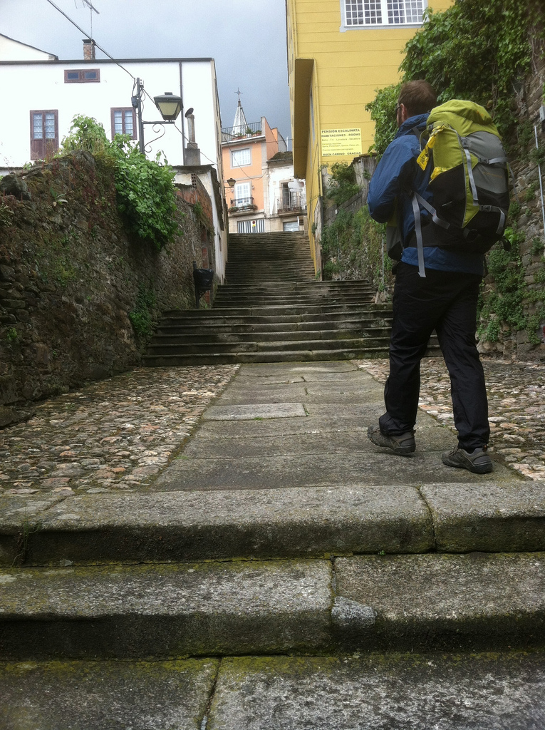 Stairs up to the Old Town of Sarria